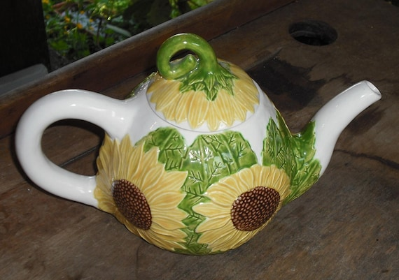 Ceramic Sunflower Tea Pot Teapot with Lid Kitchen Dining Serving Home Decor Wedding Gift Collectibles Yellow Brown Green Cream Flower