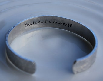 Believe in Yourself Aluminum Secret Message Bracelet