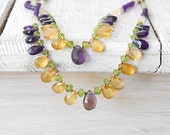 Multicolor Gem Necklace, Citrine Amethyst Peridot Double Strand Necklace, OOAK Jewel, Statement Jewel, Glamorous Bijoux, Gift for Her - SunSanJewelry
