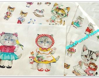 Fat Quarter--Linen Cotton Blended Fabric - Fashion Cat
