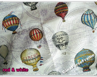 1yard--Linen Cotton Blended Fabric - Vintage Hot Air Balloon (3color available)