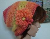 Knit Slouchy Beanie w/Flower 353