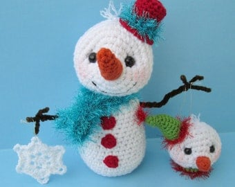 Crochet Pattern Snowman with Ornaments by Teri Crews Wool and Whims Instant Download PDF format