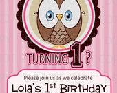 Printable DIY Owl First Birthday Birthday Party Invitation