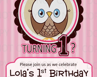 Printable DIY Owl First Birthday Birthday Party Invitation