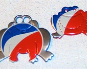 Recycled Soda Can Art-  Frog Pair of  Magnets