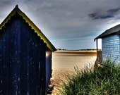 Beach Photography - Small Wooden Houses - Sand Dunes sea view picture 10x8  Photograph English Coast Photo Wall Art