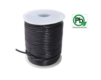 Round Leather Cord Black   2mm 100meters
