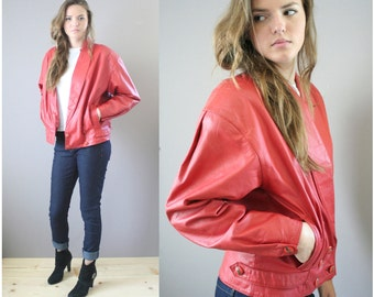Vintage 1980s Red Leather Jacket