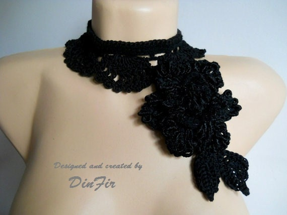 BLACK  CROCHETED  NECKLACE,  Crochet Flower Necklace Lariat, Crocheted Accessories