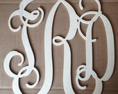 "Personalized 10"" Wooden Interlocking Monogram Cut Out - UNPAINTED"