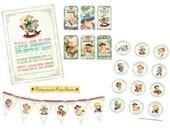 Digital PRINTABLE Party Package Vintage COWBOY Boy Girl Tea Birthday Invitation Banner Cupcake Topper Label Gift Favor Tag Cards Sheet PP12