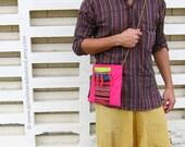 Pink Crossbody Shoulder Sling Bag - Small Colorful Hippie Nomad Indie Traveling Folk Bag