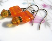 OrangeTablet Bead Earrings - Antique Brass