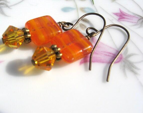 OrangeTablet Bead Earrings - Antique Brass