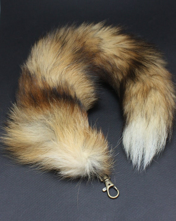 Red Fox Tail Key Chain, natural Red Fox tail Keychain  15-17 inches long