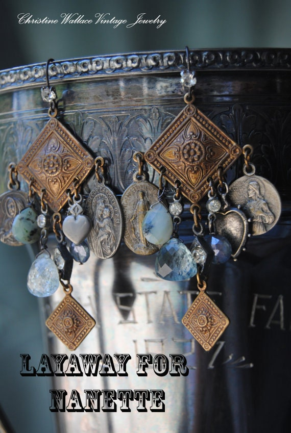 SOLD--LAYAWAY for Nanette--Divine Love Gemstone Chandeliers--Vintage Assemblage French Holy Medal Gemstone EARRINGS