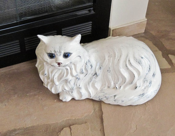Vintage Fireplace Decor Hearth Cat Large Lifesize White Ceramic Cat Home Decor