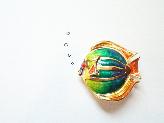 Vintage Brooch, Colorful Enamel Fish Pin Liz Claiborne LC / Turquoise Blue, sea green, coral eye
