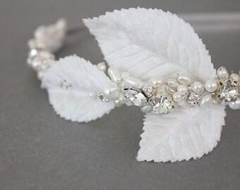 Ivory wedding bridal wreath, headband, fascinator with rhinestones
