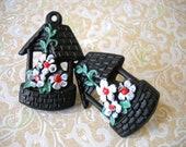 Wishing Well & Flowers Black Curtain Tie Back or Repurpose Push Pins 2