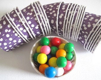 25 Purple w/ White Polka Dot Paper Candy Nut Cups / Cupcake Baking Cups / Ice Cream Cups