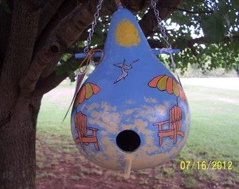 Beach Inspiried Handpainted Birdhouse Gourd