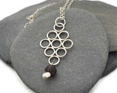 Sterling Silver, Garnet and Pearl Necklace - OOAK