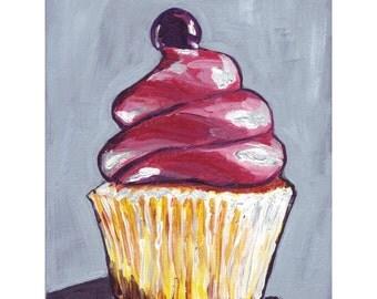 Pink Cupcake Painting Print - Cupcake Art Acrylic Painting - Pink Cupcake Painting on Grey, 5x7 Print