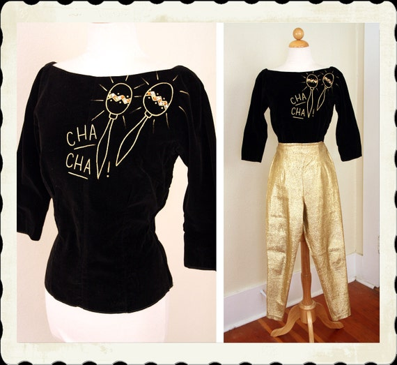 CHA CHA 1950's Hand Painted & Sequined Inky Black Velvet Hourglass Blouse w/ Mexican Maracas by Alice of California - One of a Kind - Size M