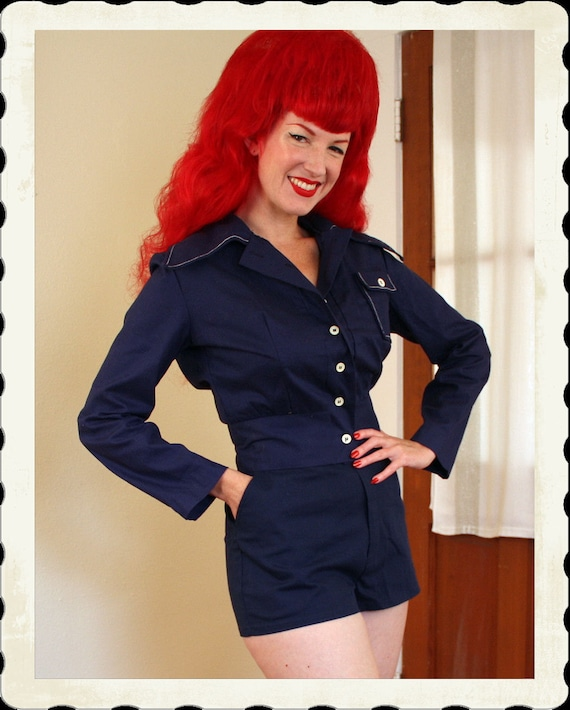 RESERVED 1940's Rich Midnight Blue Cotton Cropped Jacket w/ White Stitching - Original Tags - Lucite Buttons - Single Pocket - VLV - Size L
