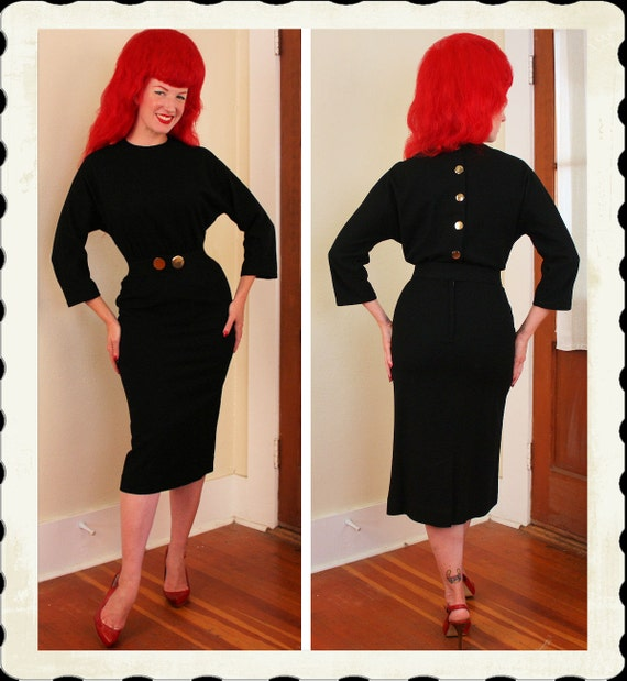 BOMBSHELL Designer 1950's Inky Black Wool Jersey Hourglass Cocktail Dress w/ Belt by Stacy Ames - Large Gold Buttons - VLV - Plus Size XL