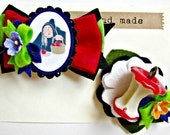 Halloween Hair Clips - Snow White Poison Apple Hair Clip set