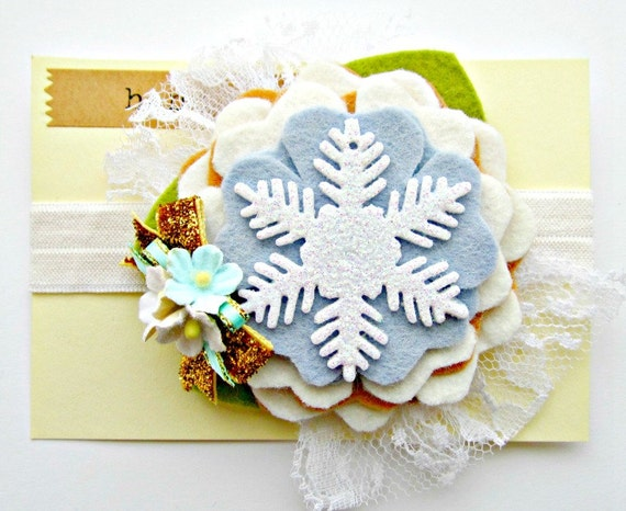 Felt Flower Headband - Snowflake Headband with vintage lace and gold glitter bow