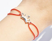 FREE SHIPPING- sterling silver little crown everday bracelet with red cord-(made to order)
