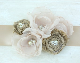 Burlap and Organza Rose Belt Bridal Sash, Bridesmaid Sash, Statement Burlap Accessory in Champagne