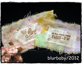 Shabby Cottage Labels French Hand stamped - Set of two - One bouquet of pink millinery flowers