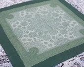 Green Russian style Ornamented Scarf - kerchief