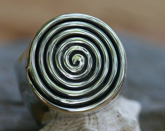 Silver Ring,Spiral Ring ,Magician Swivel Ring, Big Silver Ring, Solitaire Ring, Handcrafted Silver, Unisex Ring, Mens Ring, Silver Jewelry,
