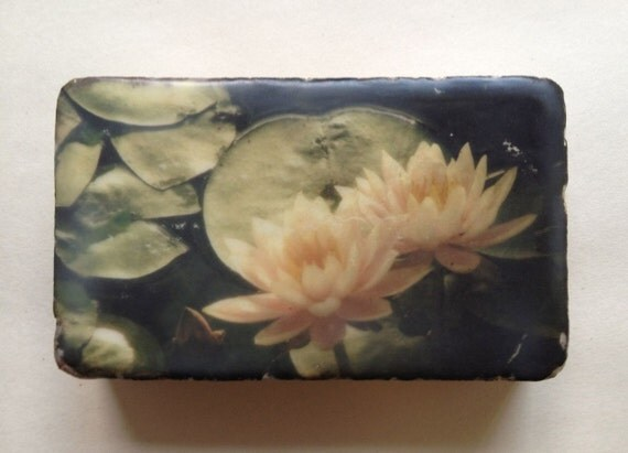 Encaustic on Handmade Cast Adobe Tile - Lotus Flowers