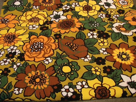 Vintage 1960s Fabric Mod Flower Power 60s Fabric Floral Orange Yellow Green Brown