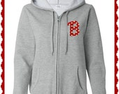 Ladies Hoodie Monogrammed Polka Dot Letter Embroidered