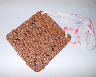 Brown plarn purse crocheted plastic bag yarn with red white blue T- shirt fabric shoulder strap