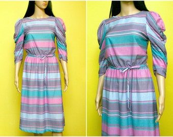 Vintage 80s striped pastel dress ruched sleeves (small - medium)