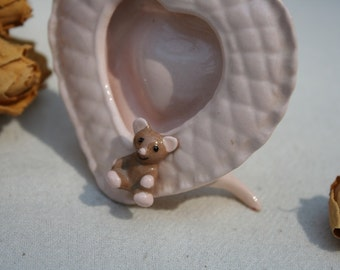 Sweet Tiny Ceramic Heart Shaped Baby Pink Quilted Picture Frame with Teddy Bear