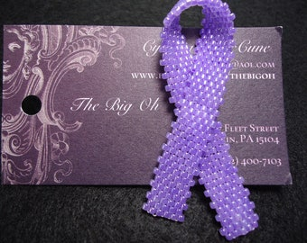Pale Purple  Beaded Awareness Ribbon