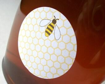 Honey Bee canning jar stickers, round canning labels, fruit & vegetable preservation, jam jar labels, honey bottle label, backyard beekeeper