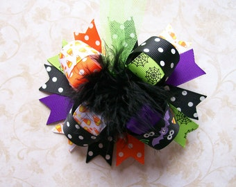 Halloween Hair Bow---Full Size 5.5 Inches Funky Fun Over the Top Bow---Classic Halloween themes
