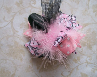 Paris Beauty Hair Bow---MINI Funky Fun Over the Top Bow----Paris theme light pink and Black