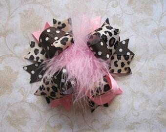 Hair Bow, Colorful Hair Ribbon, Custom Baby Hairbow, Ribbon Hair Clip, Baby Hair Bow Clip, Pink and Cheetah Christmas Bow